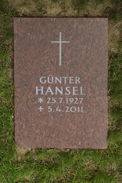Grabplatte für ein Rasengrab. Vanga-Granit, Oberfläche poliert. Ornament und Schrift keilververtieft und hellgrau ausgemalt.