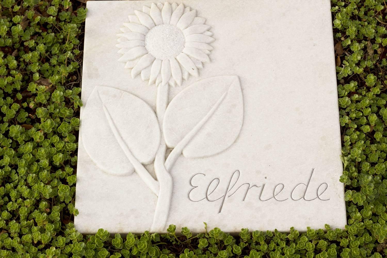 Grabplatte aus hellen Marmor. Die Sonneblume wurde plastisch erhaben freigelegt und die Oberfläche fein vom Hieb bearbeitet.